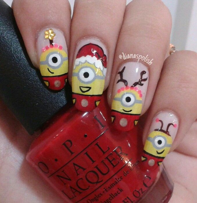 Despicable Me Minion Christmas nail art