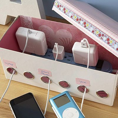 easy DIY cord storage from an old tissue box! great way to make that ugly mess of cords in the corner of my dorm room more attractive