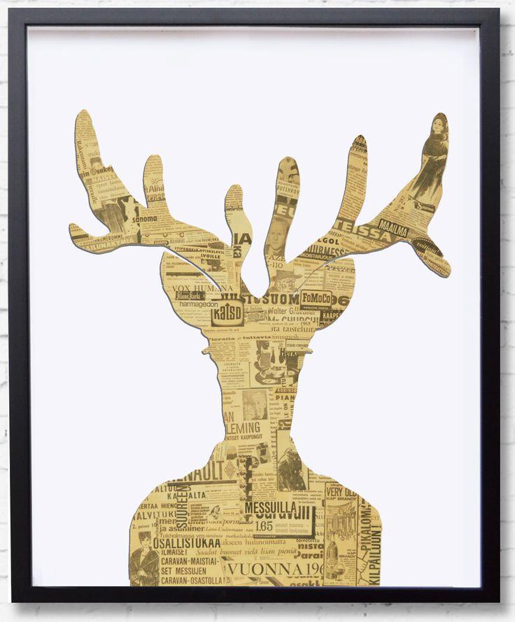 """Sisustustaulu """"Oh Deer"""". 1960-luvun sanomalehdillä verhottu. 5 mm irti taustastaan. Kehys musta vitriini 65 x 77 cm."""