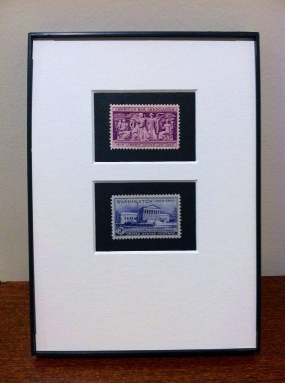 Custom Matted American Bar Association and Supreme Court Double Postage Stamp Art. 5x7 Frame. A great gift for a law student, company attorney, or that lawyer relative of yours.  Thanks for visiting Chandler Stamps. We are a family business operating out of Washington, D.C. We use official United States postage stamps to create a thoughtful and unique combination of art and history. Most pieces feature two complementary stamps in a custom matted frame which can be displayed on your desk or…