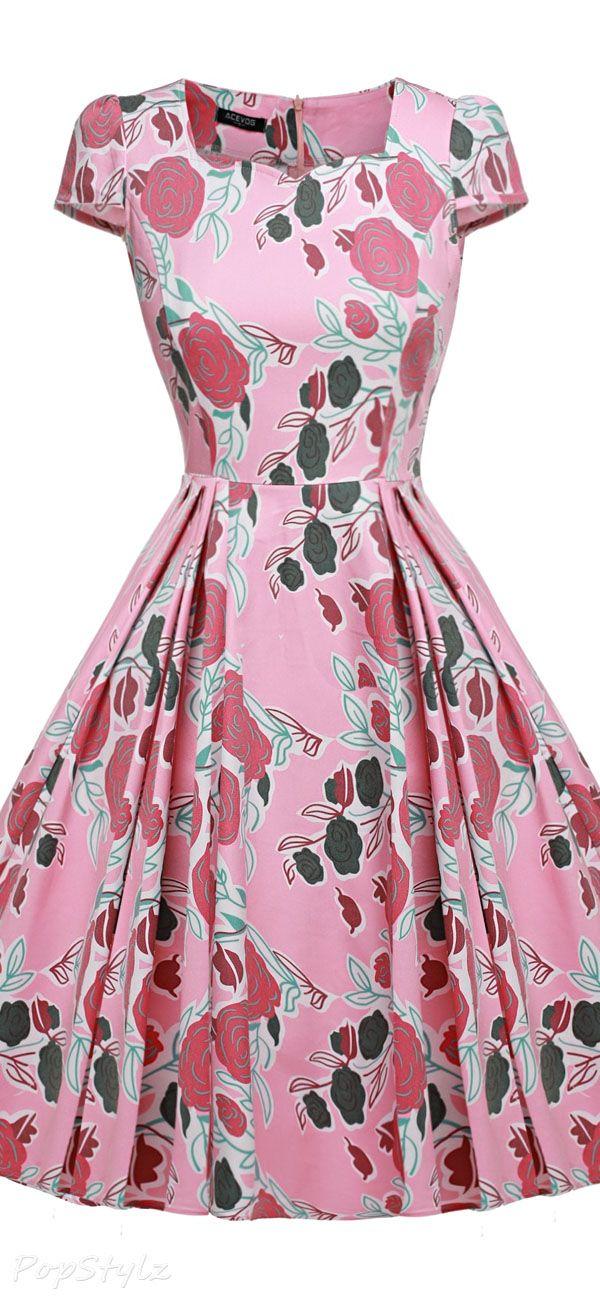 Vintage 1950s Cap Sleeve Swing Dress