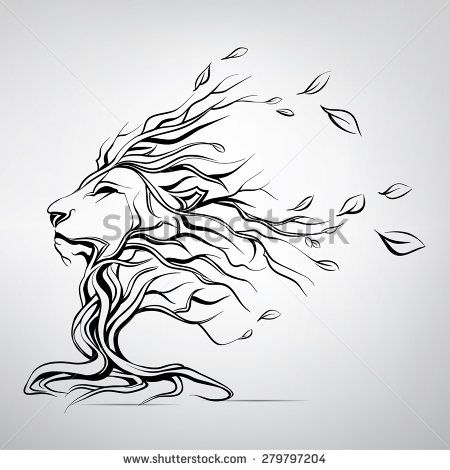 The head of a lion in the form of a tree - stock vector