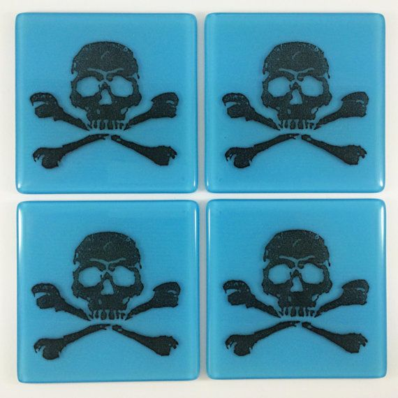 Jolly Roger Coasters by IlluminatiGlassworks on Etsy