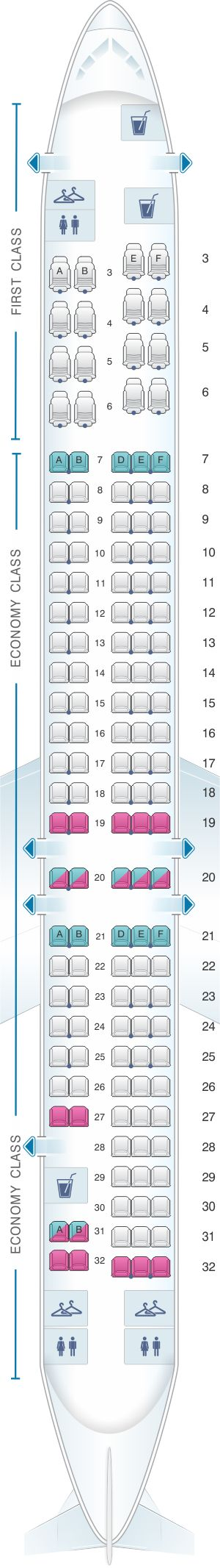 Seat map for American Airlines McDonnell Douglas MD 80 ...