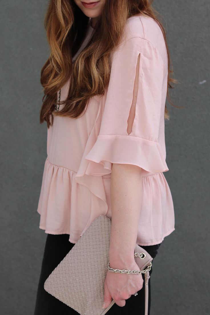 date night look, spring style, nude accessories, black jeans, pink ruffle top
