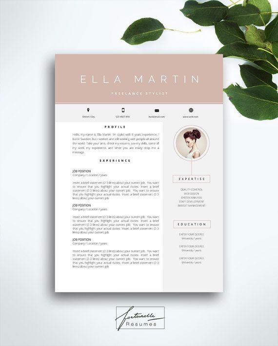 Welcome to Fortunelle Resumes!  In our shop you can get high quality, modern and elegant CV templates that are drawn by professional designer. Our resumes combine nicely thought out design and enough space for your information. We are sure that our Fortunelle Resumes will bring you a good luck and help to get your dream job!   WHAT YOU WILL GET  - resume + 1 cover letter in .docx and .doc format - 1 usage manual pdf - set of icons ( 10 PNG icons - facebook, Twitter, Linkedin, Pinterest…