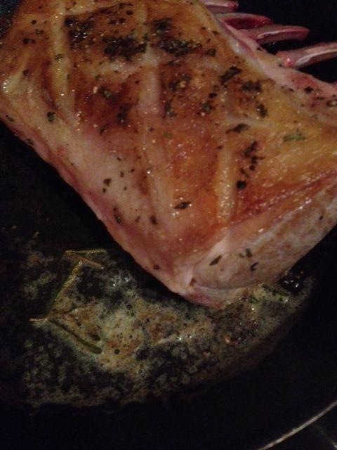 New season lamb sealing on the pan before roasting