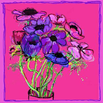 Pink Anemones, Kathy Lewis. Digital art. iPad painting, flowers.