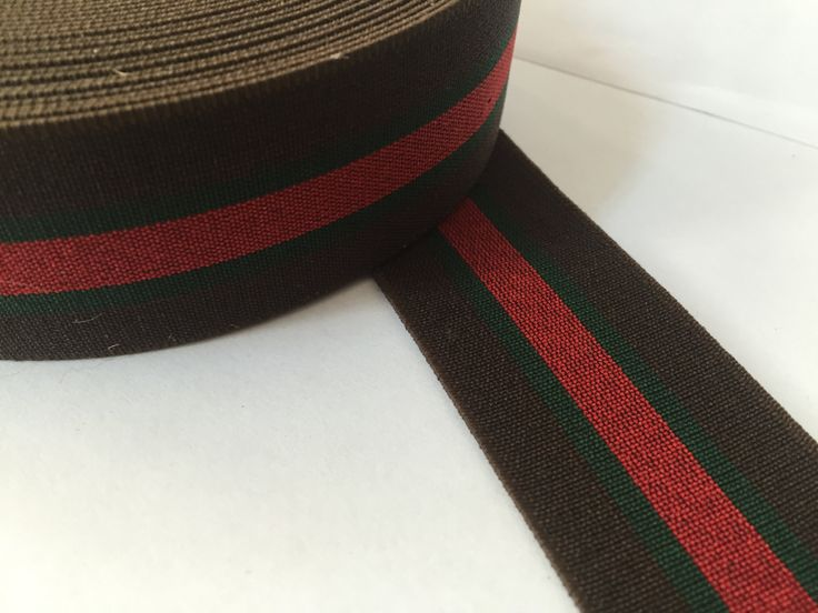 1.6 in (4 cm) wide Brown, Green and Red Striped Elastic Webbing, Gucci Inspired Belt Webbing by NoaElastics on Etsy