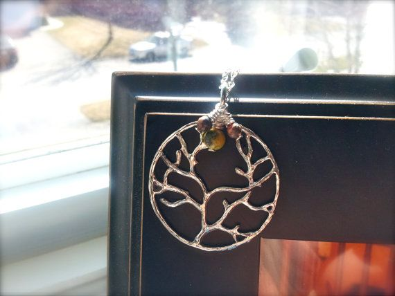 Tree of Life Necklace with SemiPrecious Stone Cluster by dgowin, $39.00