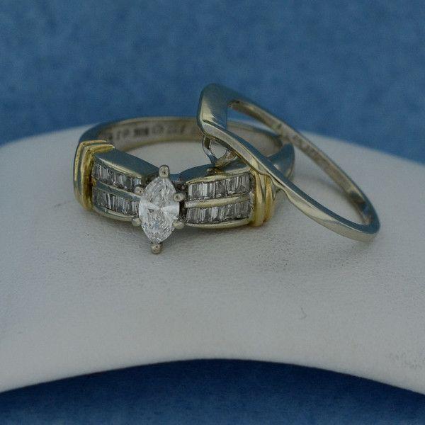 Superb Two Tone Gold Genuine Marquise Diamond Wedding Ring Set Moneyman Pawn