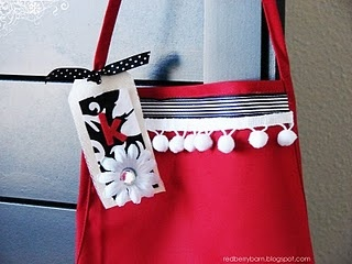 Altered Aprons - Bought the plain red aprons from Hobby Lobby and then spruced them up with ribbon, trim, etc.