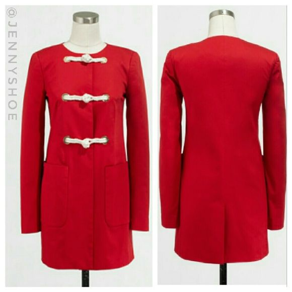 {j. crew} red toggle pocket coat Brand new with tags J. Crew factory red toggle pocket coat. Cotton with a hint of stretch. Toggle closure and patch pockets. A perfect Fall/spring jacket!  Size 00 J. Crew Jackets & Coats
