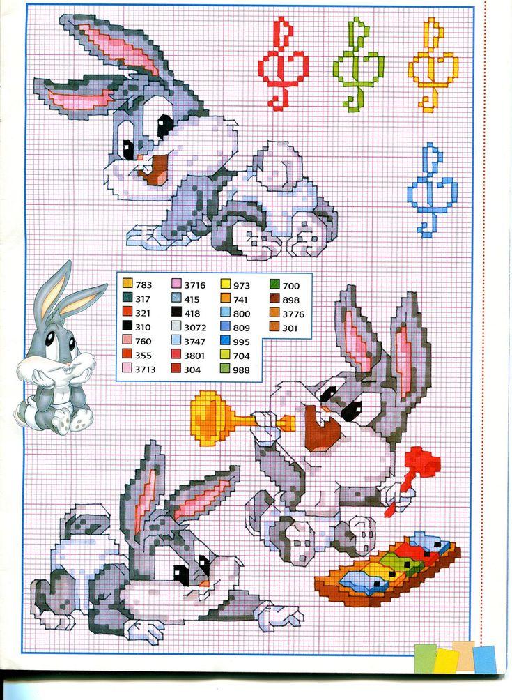 Baby bugs bunny e la musica - magiedifilo.it punto croce uncinetto schemi gratis hobby creativi
