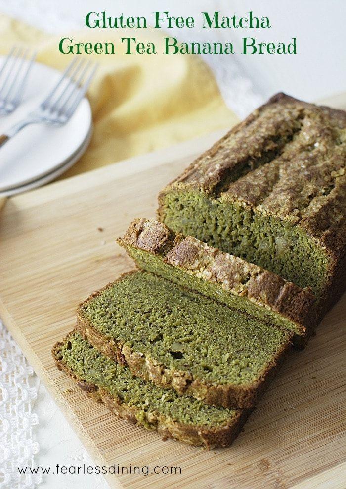 Gluten Free Matcha Green Tea Banana Bread found at http://fearlessdining.com