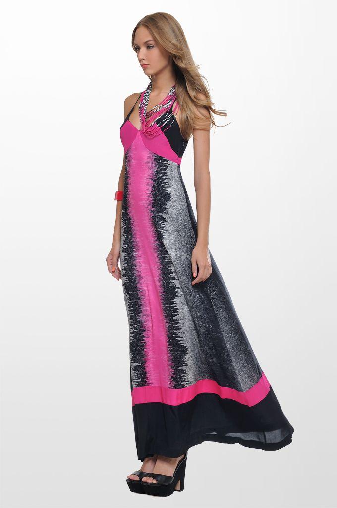 Sarah Lawrence - maxi printed dress, beaded necklace.