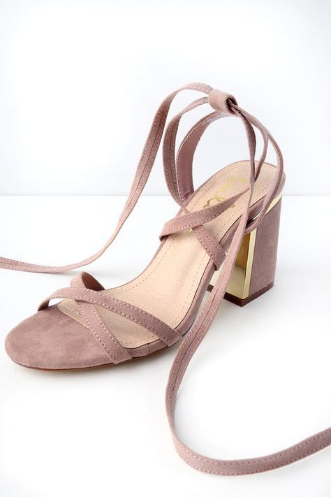 6a7477ab39 Step up in the world by stepping into the Ailsa Mauve Suede Lace-Up Heels!  Vegan suede forms a strappy
