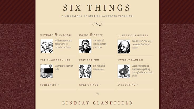 SIX THINGS: A MISCELLANY OF ENGLISH LANGUAGE TEACHING. LINDSAY CLANDFIELD.