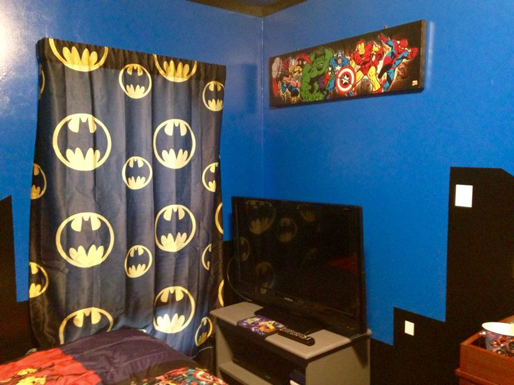 Grayson's Superhero Bedroom. Curtains from Walmart. Canvas wall hanging from Hobby Lobby. Wooden television stand was repainted silver.