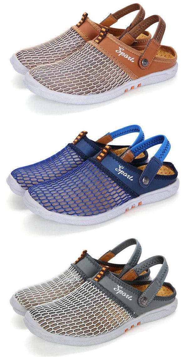 1cc0ad5c378 Men Mesh Breathable Adjustable Heel Strap Backlees Casual Shoes ...