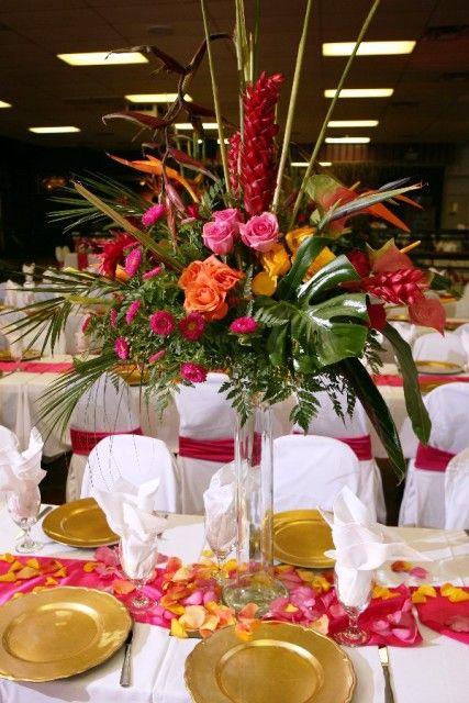 Tropical centerpiece ideas welcome to bisli event