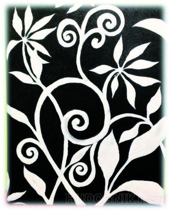"""Белый цветок Черно-белые цвета всегда привлекали глаз человека, такая картина """"оживит"""" любой интерьер"""