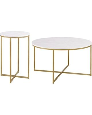 Walker Edison 2-Piece Round Coffee Table Set, White Faux Marble/Marble/Gold from Houzz | BHG.com Shop