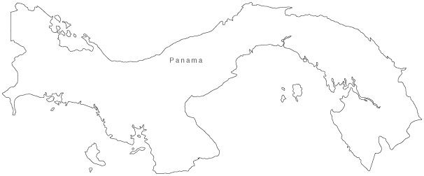 Panama Map - Simple Outline - Download Maps 24/7 - Royalty-Free ...
