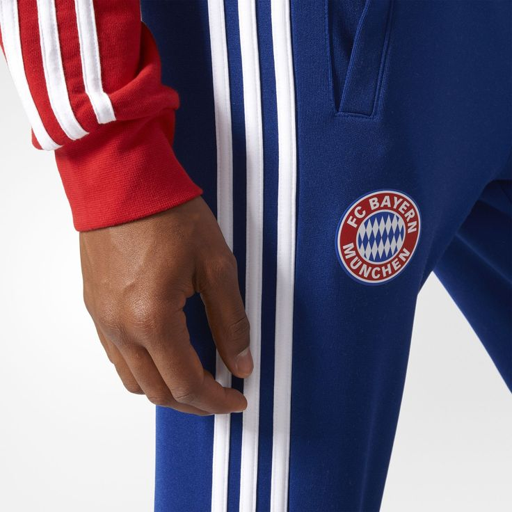 adidas - FC Bayern München Track Pants  A winning style from the '80s. These men's track pants replicate the look of the warm-up pants worn during die Roten's 1981 Bundesliga championship season. The design shows off an embroidered Trefoil logo on the left hip and the team badge on the right hi