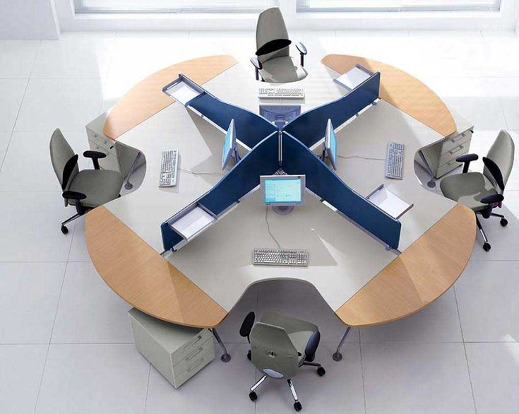 office table decoration. office workspace modern swivel chair with beige soft fabric and unique wooden desk shape table decoration