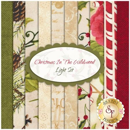 Christmas In The Wildwood 10 FQ Set - Light Set by Nancy Minks for Wilmington Prints: Christmas In The Wildwood is a beautiful collection by Nancy Mink for Wilmington Prints. 100% Cotton. This set contains 10 fat quarters, each measuring approximately 18