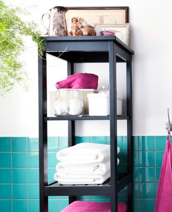 IKEA HEMNES shelving unit with towels and storage boxes. A new little bathroom, one little update at a time. Spruce up your bathroom with these simple ideas to bring in new functionality and a fresh look.