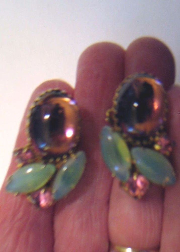Vintage Earrings Clips Prong Set Navette Green Lucite & Lilac & Pink Rhinestones #Unbranded #Cluster