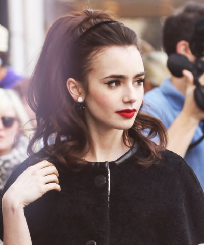 lily collins hair + lips . black velvet headband