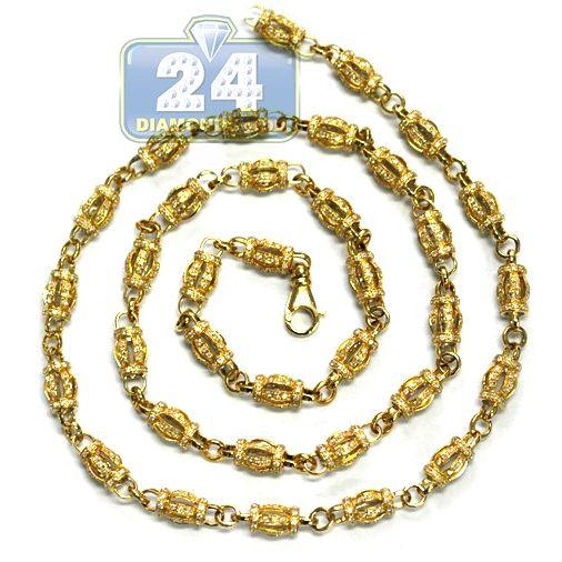 691a3b145c873 14K Yellow Gold 13.02 ct Diamond Barrel Bead Link Mens Chain in 2019 ...
