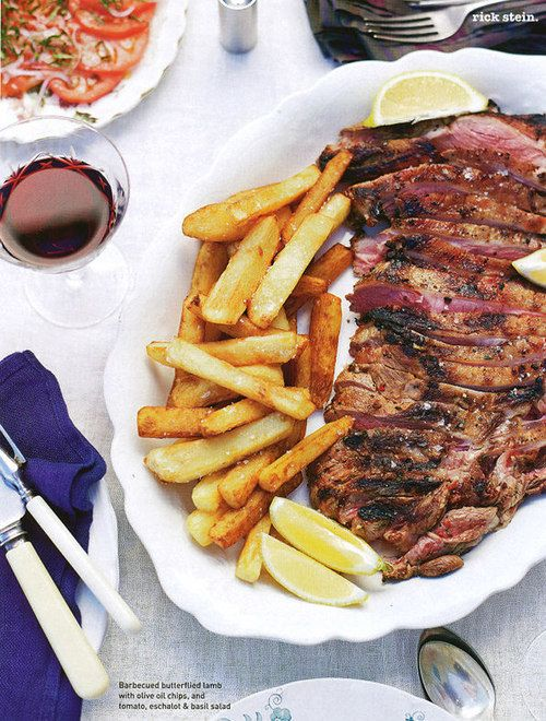 Barbecued butterflied lamb