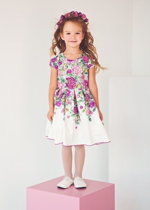 Jacquard dress in purple and ashes of roses. | petite Fleur