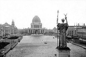The Court of Honor at The World's Fair: Columbian Exposition. This was a World's Fair held in Chicago in 1893 to celebrate the 400th anniversary of Christopher Columbus's arrival in the New World in 1492.    I just finished reading a book about this (The Devil In the White City, by Erik Larson), so I'm frolicing in seeing more photos of the Fair right now.