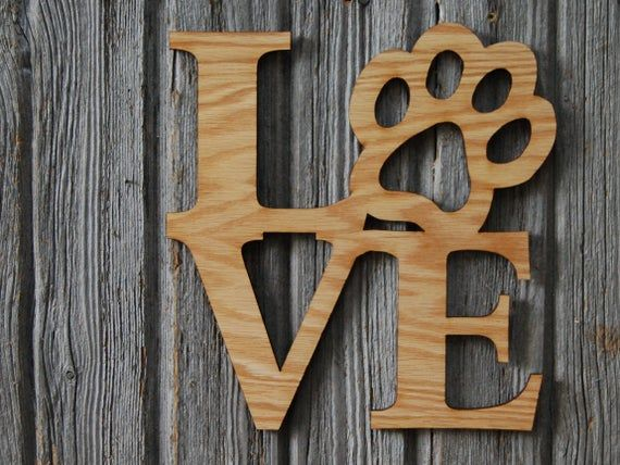 Paw Print Love Sign Wall Decor Gift For Dog Lover Wood Love Wall Hanging Wood Love Signs Woodworking Projects