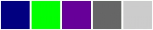 Navy, Green, Purple, Grey, and Silver...ColorCombos.com color schemes, palettes, combinations with hex colors 000080, 00FF00,660099,666666,CCCCCC