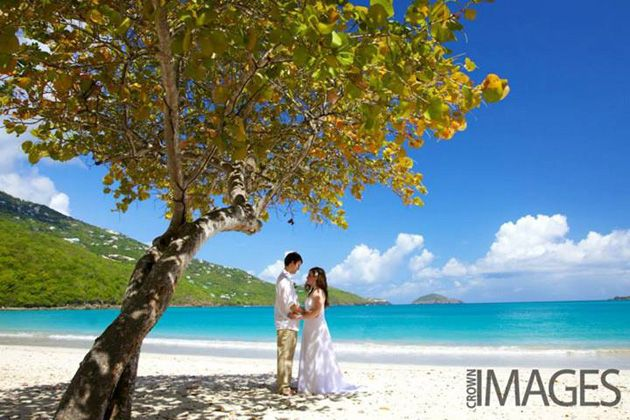 Elopement wedding package in St. Thomas, USVI by BlueSkyCeremony.com; photography by sagehammond.com; located at Magens Bay Beach, St. Thomas.