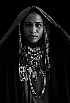 Libyan photographer Sasi Harib's black and white portraits of Imuhagh Libyan women at the Teniri Festival in Ghadames, Libya.
