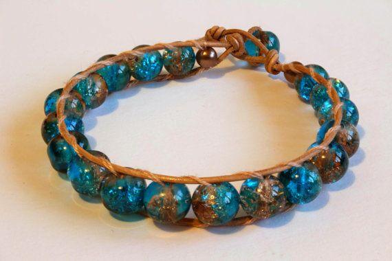 Blue Glass Beaded Bracelet for Women Wrap by MoniqueUniquely