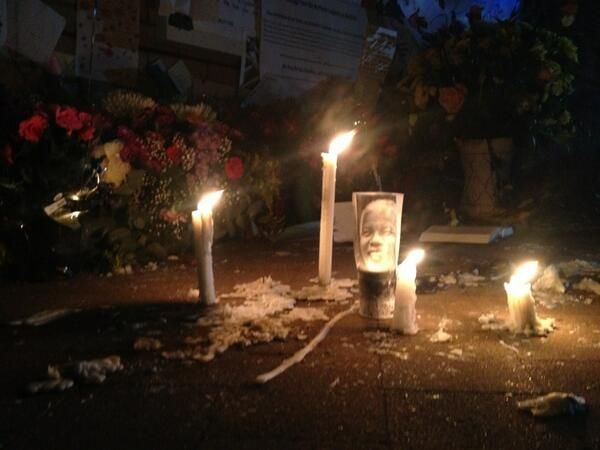 A night vigil with candles burns brightly outside the hospital wishing Mandela good health and peace. Picture: Liela Magnus, SABC Radio Reporter