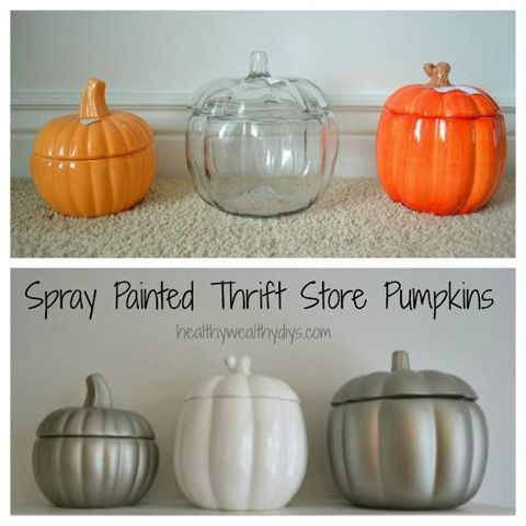 Spray painted thrift store finds for cheap fall decor