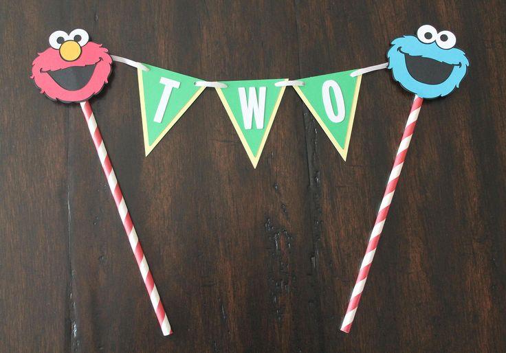 Sesame Street birthday bunting cake topper with age | Elmo cake topper | Cookie Monster cake topper | Sesame Street theme | Elmo decorations by FairfaxDesigns on Etsy https://www.etsy.com/listing/529270253/sesame-street-birthday-bunting-cake