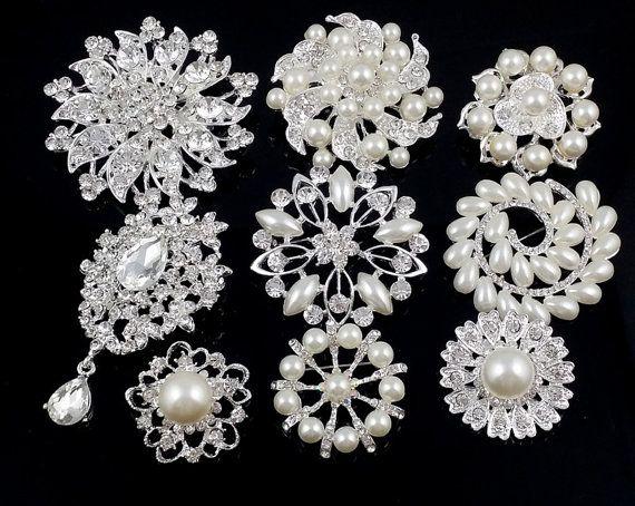8241d852b 10% off! Wholesale Mix 30 pcs Rhinestone Brooch Embellishment Silver Pearl  Crystal Bridal Brooch Bouquet Invitation Cake Decoration Pin #1