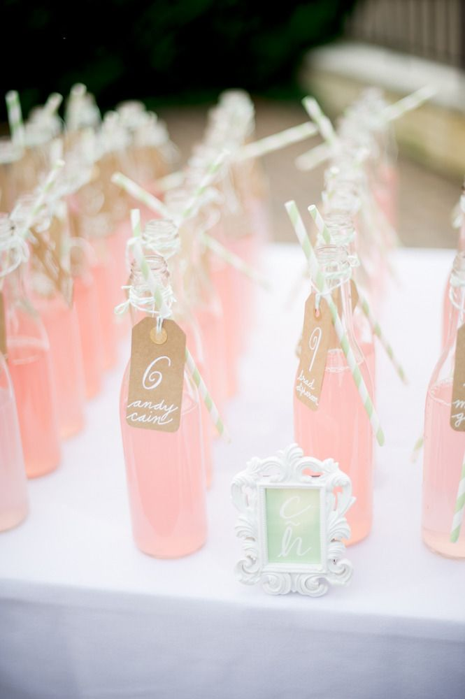 Escort Card Tags on Bottle of Lemonade | Click thru for the full wedding |  L Hewitt Photography