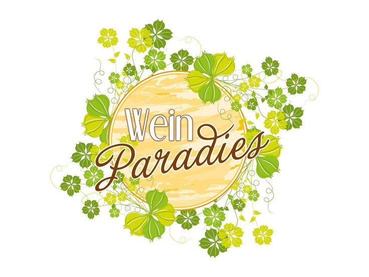 Wandsticker Sticker Aufkleber für Küche Spruch Wein Paradies Blätter Getränk (Größe=34x30cm)