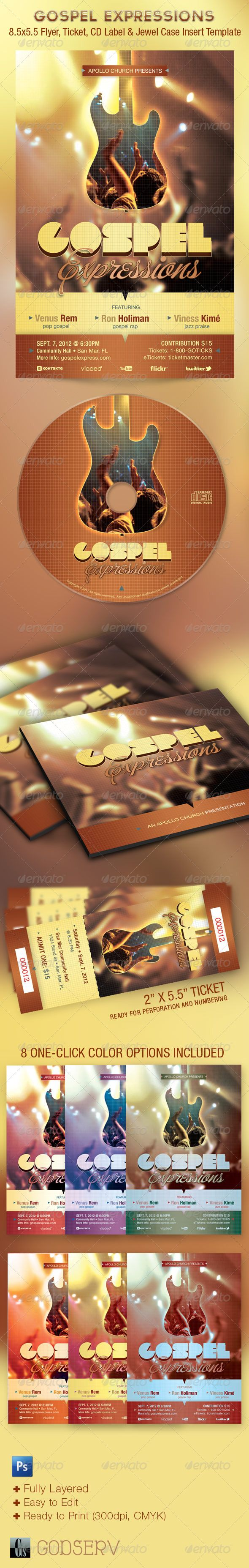 Gospel Expressions Church Flyer Ticket CD Template — Photoshop PSD #event #church • Available here → https://graphicriver.net/item/gospel-expressions-church-flyer-ticket-cd-template/1684468?ref=pxcr